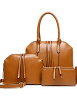 cheap -Women Bags PU Bag Set 4 Pieces Purse Set Zipper for Casual Outdoor Winter Fall Wine Brown Black Blue