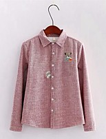 cheap -Women's Casual/Daily Cute Winter Shirt,Striped Shirt Collar Long Sleeve Cotton Thick