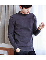 cheap -Men's Going out Casual Regular Pullover,Solid Crew Neck Long Sleeves Polyester Fall Thick Inelastic