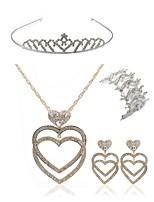 abordables -Femme Tiare Nuptiales Parures Strass Européen Mode Mariage Soirée Imitation Diamant Alliage Cœur Bijoux de Corps 1 Collier 1 Bracelet