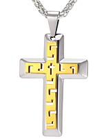 Недорогие -Муж. Крест Классика На каждый день Ожерелья с подвесками , Нержавеющая сталь Ожерелья с подвесками , Повседневные Карнавал