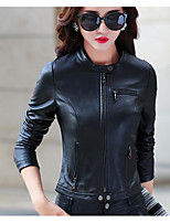 cheap -Women's Going out Casual Active Fall Leather Jacket,Solid Round Neck Long Sleeve Regular PU Oversized
