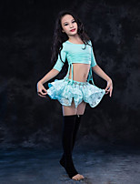 cheap -Belly Dance Outfits Children's Performance Modal Lace Lace Pleated Half Sleeve Dropped Skirts Tops