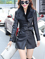 cheap -Women's Going out Street chic Winter Fall Leather Jacket,Solid Peter Pan Collar Long Sleeve Long PU