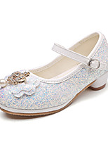 cheap -Girls' Shoes PU Spring Summer Flower Girl Shoes Novelty Flats Bowknot Beading Buckle for Wedding Party & Evening Gold White Silver Blue