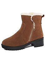 cheap -Women's Shoes Nubuck leather Winter Fall Comfort Snow Boots Boots Chunky Heel Booties/Ankle Boots for Casual Red Brown Black