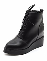 cheap -Women's Shoes PU Winter Fall Comfort Bootie Boots Wedge Heel for Casual Black