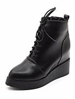 baratos -Mulheres Sapatos Couro Ecológico Inverno Outono Conforto Curta/Ankle Botas Salto Plataforma para Casual Preto