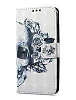 abordables -Coque Pour Huawei P9 lite mini Portefeuille Porte Carte Avec Support Clapet Motif Magnétique Coque Intégrale Crânes Dur Cuir PU pour P9