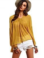 Недорогие -Для женщин Повседневные Все сезоны Блуза Круглый вырез,На каждый день Однотонный Длинные рукава,Полиэстер,Плотная