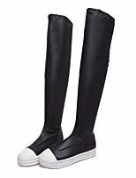 Недорогие -Жен. Обувь Полиуретан Весна Осень Удобная обувь Модная обувь Ботинки На плоской подошве Сапоги выше колена для Повседневные Черный