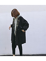 economico -Impermeabile Da donna Quotidiano Vintage Inverno,Tinta unita Rotonda Cotone Acrilico Standard Maniche corte A pieghe
