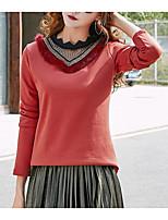 preiswerte -Damen Solide Street Schick Ausgehen T-shirt,Rundhalsausschnitt Langärmelige Polyester