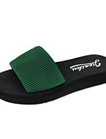 cheap -Women's Shoes PU Summer Comfort Slippers & Flip-Flops Flat Heel Closed Toe for Casual Outdoor Black Fuchsia Green