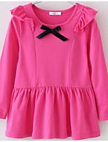 cheap -Girl's Solid Dress Spring Simple Blue Blushing Pink Purple Yellow Fuchsia