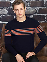 cheap -Men's Daily Casual Regular Pullover,Print Round Neck Long Sleeve Polyester Spring Thin Micro-elastic