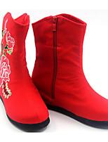 Недорогие -Для женщин Обувь Ткань Весна Осень Удобная обувь Модная обувь Ботинки На плоской подошве для Повседневные Красный Зеленый