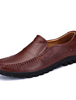 cheap -Men's Shoes Cowhide Spring Fall Comfort Loafers & Slip-Ons for Casual Black Light Brown Burgundy