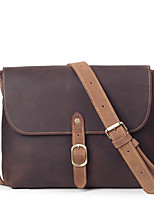cheap -Men Bags Cowhide Shoulder Bag Zipper for Casual Office & Career All Season Dark Brown Brown
