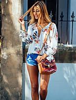 Недорогие -Для женщин Повседневные Лето Блуза V-образный вырез,Активный Цветочный принт Длинные рукава,Полиэстер