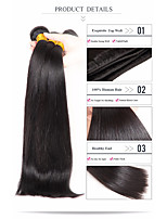 cheap -Brazilian Hair Straight Human Hair Weaves 3-Pack Natural Color Hair Weaves