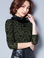 cheap -Women's Daily Casual T-shirt,Solid Turtleneck Long Sleeve Silk
