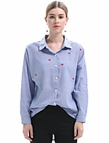 economico -Camicia Da donna Quotidiano Vintage Tinta unita Colletto Cotone Maniche lunghe