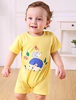 Недорогие -малыш Мальчики 1 предмет Хлопок Однотонный Весна Белый Розовый Темно синий Серый Желтый