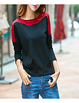 cheap -Women's Daily Casual Winter Fall T-shirt,Color Block Round Neck Long Sleeve Polyester Opaque