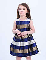 cheap -Girl's Daily Striped Color Block Dress,Cotton Rayon Spring Summer Sleeveless Vintage Casual Red Blue
