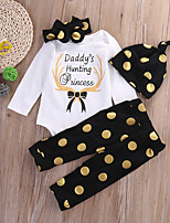 cheap -Baby Unisex Daily Sports Polka Dot Print Clothing Set, Cotton Spring Fall Simple Cute Long Sleeves White