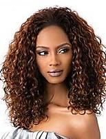 Недорогие -Натуральные волосы Кружевной парик Кудрявый вьющиеся Лента спереди 130% плотность Черный как смоль Черный Темно-коричневый Коричневый