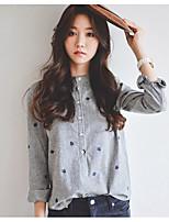cheap -Women's Daily Casual Fall Shirt,Polka Dot Stand Long Sleeve Polyester Medium