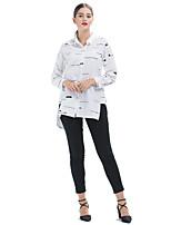 cheap -Women's Daily Casual Winter Fall Shirt,Print Shirt Collar Long Sleeve Polyester Opaque