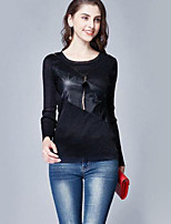 cheap -Women's Casual/Daily Vintage T-shirt,Print Round Neck Long Sleeves Cotton