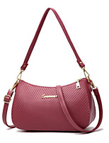 cheap -Women Bags PU Shoulder Bag Zipper for Casual All Season Gray Blushing Pink Red Black Blue