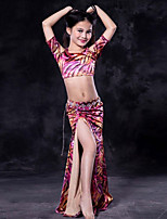 cheap -Belly Dance Outfits Children's Performance Spandex Pattern / Print Short Sleeve Dropped Skirts Top