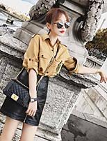 Недорогие -Для женщин Повседневные Зима Блуза Рубашечный воротник,Винтаж Однотонный Короткие рукава,Хлопок Акрил,Плотная