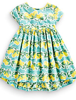 cheap -Girl's Party Daily School Holiday Going out Floral Print Jacquard Dress,Cotton All Season Short Sleeve Simple Vintage Cute Green