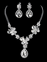 cheap -Women's Drop Earrings Choker Necklace Bridal Jewelry Sets Cubic Zirconia Rhinestone Silver Drop Classic Vintage Elegant Wedding