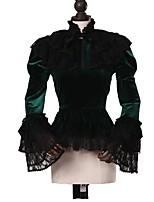 Недорогие -Готика Панк Жен. Взрослые Блузы/сорочки Косплей Темно-зелёный Длинный рукав