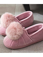 cheap -Women's Shoes Flocking Winter Fall Comfort Slippers & Flip-Flops Flat Heel for Casual Light Pink Pink Gray Black