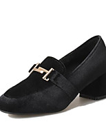 preiswerte -Damen Schuhe PU Frühling Herbst Komfort High Heels Blockabsatz für Normal Schwarz Khaki