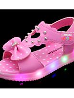 Недорогие -Девочки обувь Дерматин Весна Лето Удобная обувь Сандалии для Повседневные Белый Персиковый Розовый