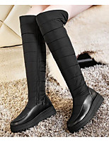 Недорогие -Жен. Обувь Полиуретан Зима Осень Удобная обувь Зимние сапоги Ботинки На плоской подошве Сапоги выше колена для Повседневные Черный Синий