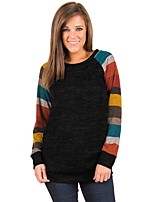 cheap -Women's Daily Casual Fall T-shirt,Striped Round Neck Long Sleeve Polyester