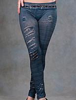 preiswerte -Damen Undurchsichtig Baumwolle Solide Einfarbig Legging,Blau