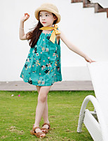 abordables -Robe Fille de Quotidien Couleur Pleine Fleur Coton Fibre de bambou Spandex Printemps Sans Manches Rétro Vert
