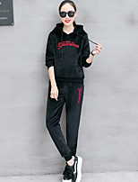 cheap -Women's Casual/Daily Simple Winter Autumn/Fall Set Pant Suits,Solid Letter & Number Hooded Long Sleeves Cotton Polyester Micro-elastic