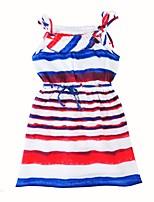 cheap -Girl's Daily Striped Dress,Cotton Summer Sleeveless Casual Red Blue